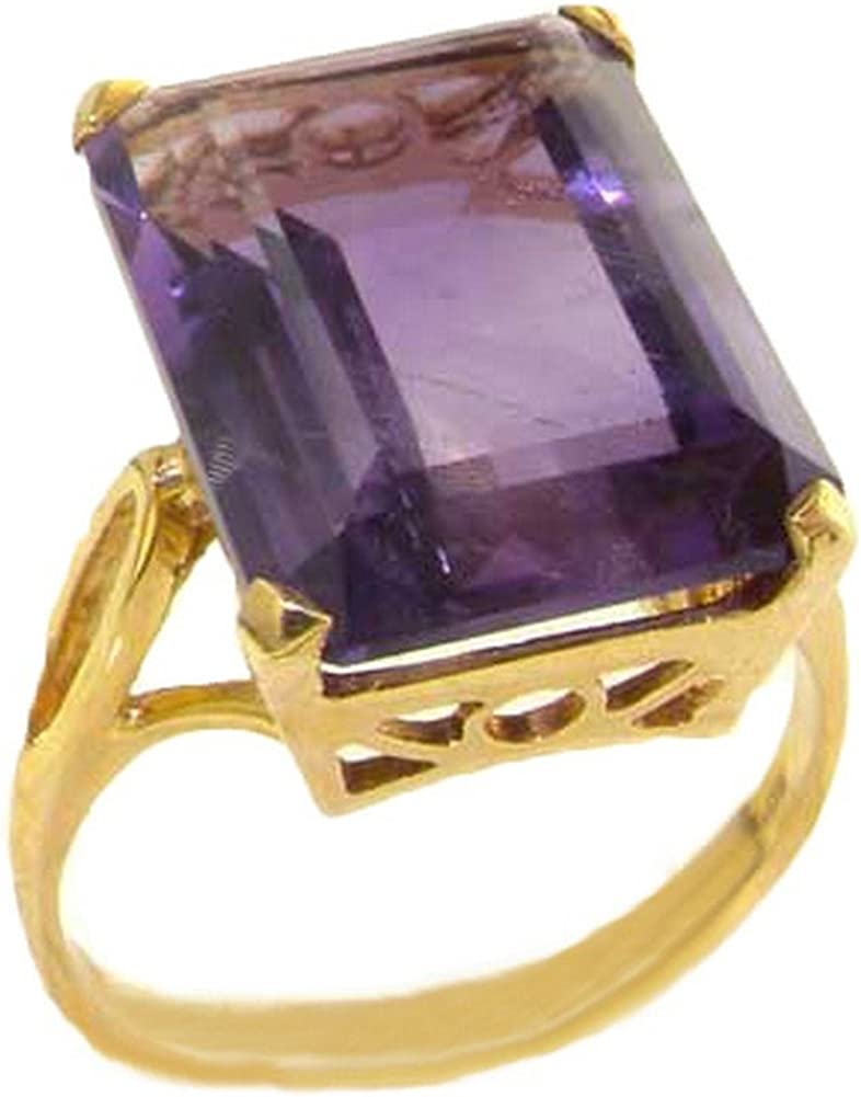 LetsBuyGold 14k Yellow Gold Real Genuine Amethyst Womens Band Ring
