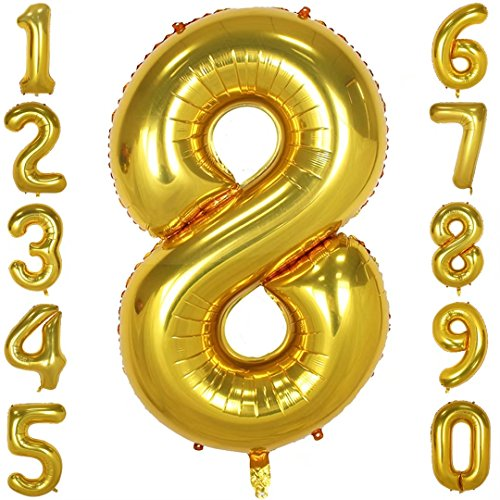 1973 OI 40 Inch Large Number Balloons Gold Mylar Foil Big Number 8 Giant Helium Balloon Birthday Party Decoration