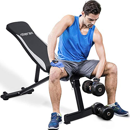 Merax Adjustable Workout Bench Folding Utility Super Max Weight Bench 6 Position AB Incline Gym Equipment (Black)