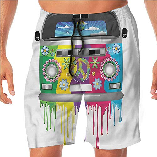 Quick-Dry Beach Swim Shorts Groovy,Hippie Van Vacation Shorts for Teen M ()