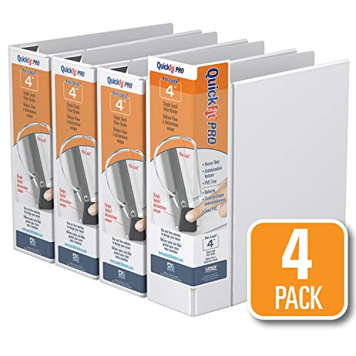 QuickFit PRO Heavy Duty Single Touch View Binder, 4 Inch, Locking D Ring, White, 4 Pack (90060-04) ()