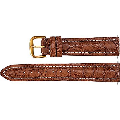 Men's 22 mm Regular Tan Matte Sport Genuine Crocodile Heavy Padded Watch Strap ()