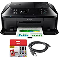 Canon PIXMA MX922 Wireless Inkjet Office All-In-One Printer + Canon Genuine PGI-250 BK,CLI-251,4 Inks + Printer Cable