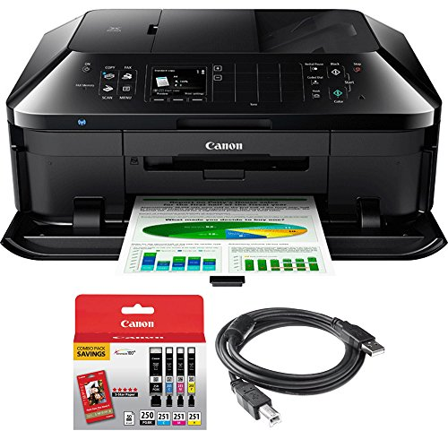Canon PIXMA MX922 Wireless Inkjet Office All-In-One Printer + Canon Genuine PGI-250 BK,CLI-251,4 Inks + Printer Cable by Beach Camera (Image #9)