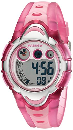 PASNEW LED Waterproof Sports Digital Watch for Children Girls Boys (Pink) CH239