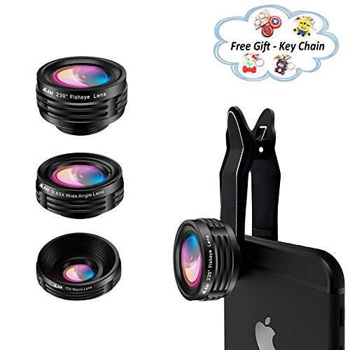 Cell Phone Camera Lens Kit, Universal Smartphone HD Macro x15, Fisheye 230° and Wide Angle 0.65X Photo Lenses, Fits iPhone 5S, 6, 6S, 7, 8, X, Samsung, LG, Huawei Smart Phones, Bonus Lens Hard Case by ALAM Superior Lens