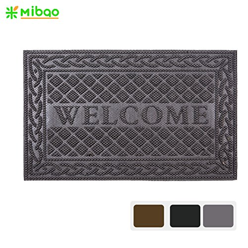 Gray Welcome Mats - Mibao Door Mat Outdoor/Indoor Entrance Floor mat Low Profile Welcome Mat Shoes Scraper Doormat, 18