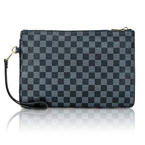Gerosse Designer Clutch Purses for Women, Envelope Checkered Clutches Bag, Women Wristlet Handbag ... (Monogram Clutch Wristlet)