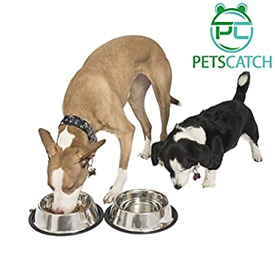 Dog Bowls 32 Ounce Stainless Steel Material - Set of 2 - These Dishes have Long Durability - with Rubber Base so the Bowls Shouldn't Slide - with 10 Year Warranty