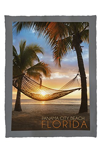 Panama City Beach, Florida - Hammock and Sunset (60x80 Poly Fleece Thick Plush - Time Panama City Sunset Beach