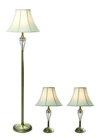 Elegant Designs LC1001 ABS Three Pack Lamp Set (2 Table Lamps, 1 Floor