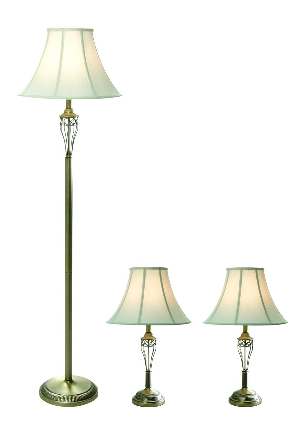 Elegant Designs LC1001-ABS Three Pack Lamp Set (2 Table Lamps, 1 Floor Lamp), 7'' x 16'' x 25'', Antique Brass