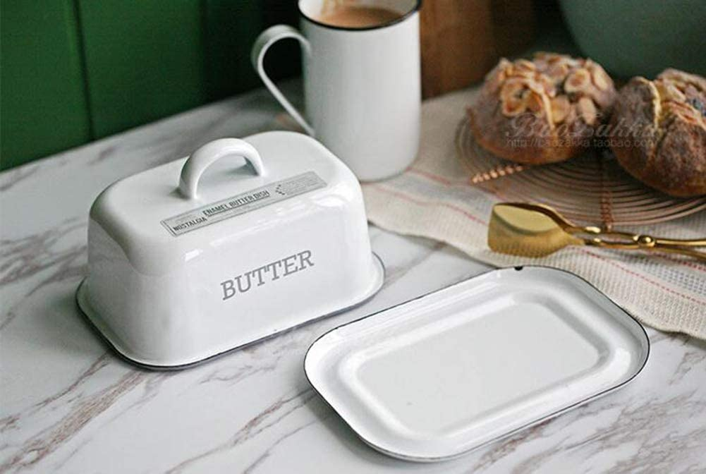 Large Enamel Butter Dish with Lid