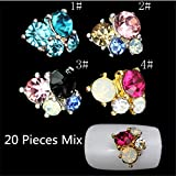 20Pcs Mix 3D Charms Glass Crystal Diamonds Nail Art Design Stone Decorations Strass Jewelry DIY Nail Art Rhinestones Flower Nail Decoration Gems Sticker