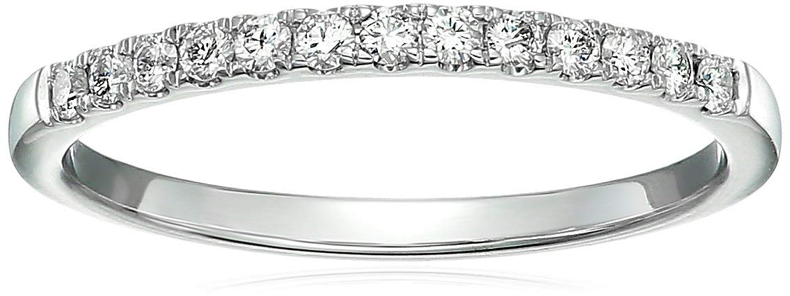 Customize and Engrave 1/5 cttw Pave Diamond Wedding Band 14K White Gold Size 5.5 by Vir Jewels