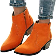 Boots Round Toe Rome Retro Rhinestone Short Ankle Boots Low Heel Shoes Women's Casual Boots Western Shoes