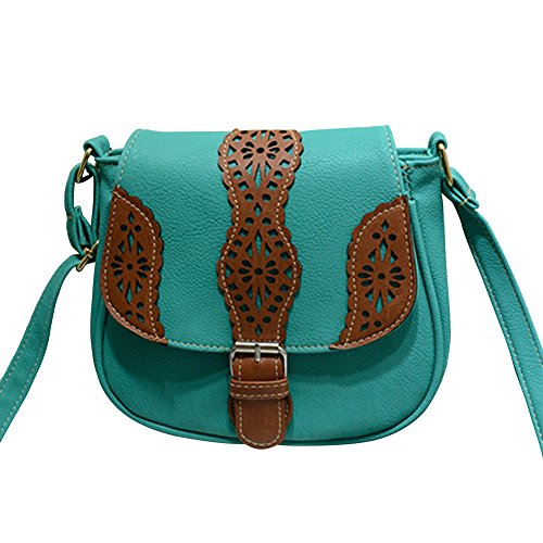 Women's Vintage/Retro Buckle Shoulder Bag Small Cross-Body Messenger Bag Khaki One Size Lake Blue