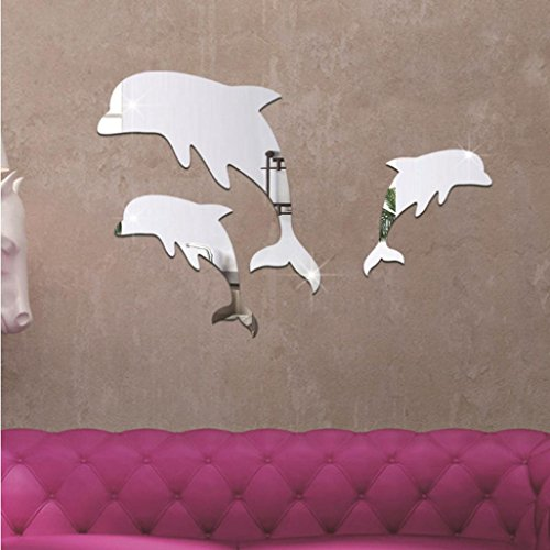 Vacally Wall Art Decor Acrylic 3D Cute Dolphin Combination Mirror Effect Wall Sticker Decal Home Decor For Kids Bedroom (Silver) (Dolphin Tropical Mirror)