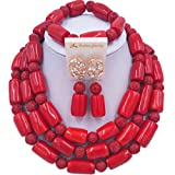 laanc 3 Rows Custom Multicolor Coral and Shell 18'' Necklace Earrings Bracelet African Beads Jewelry Sets (Red)