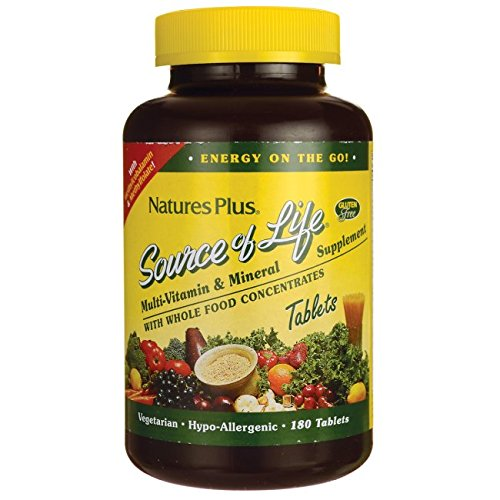Tablets Plus Vitamin - Nature's Plus -  Source of Life Multi-Vitamin and Mineral Supplement with Iron, 180 tablets