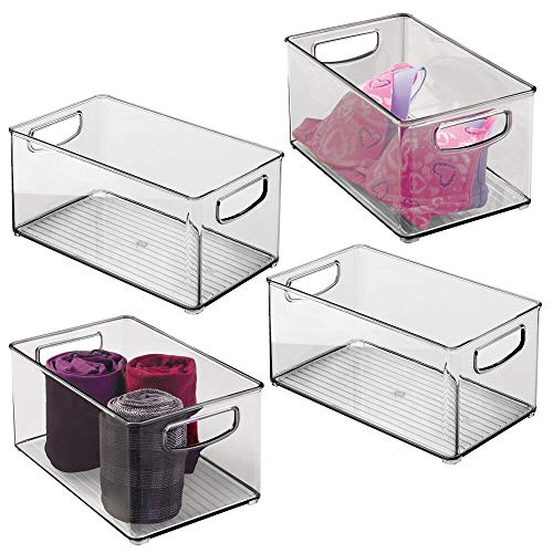 "mDesign Plastic Home Storage Basket Bin with Handles for Organizing Closets, Shelves and Cabinets in Bedrooms, Bathrooms, Entryways, and Hallways - Store Sweaters, Purses - 10"" Long - 4 Pack - Smoke"