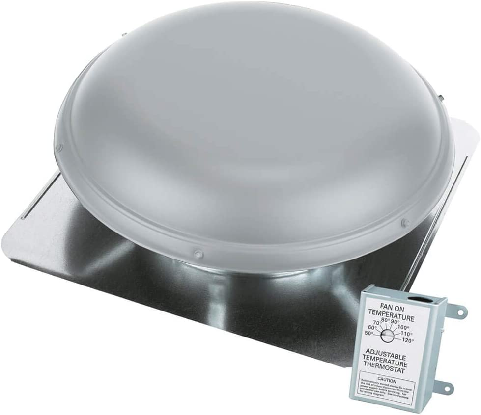 Air Vent Roof Mount Metal Vent With Thermostat 1170 Cfm Gray Amazon Com