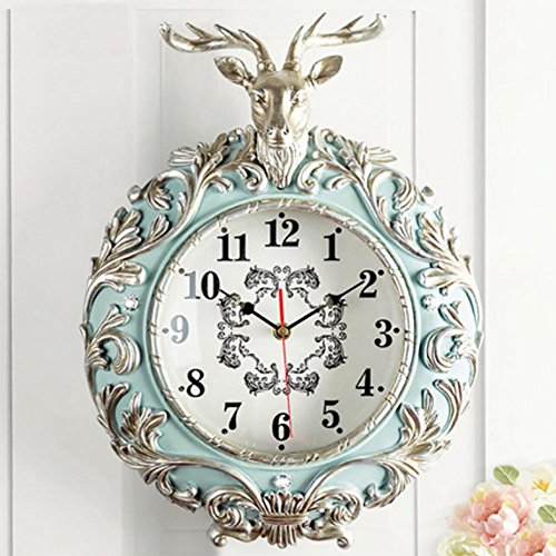 LIU Deer Head Wall Clock Living Room Creative Fashion Modern European Garden Clock Resin Mute Monochrome, silver