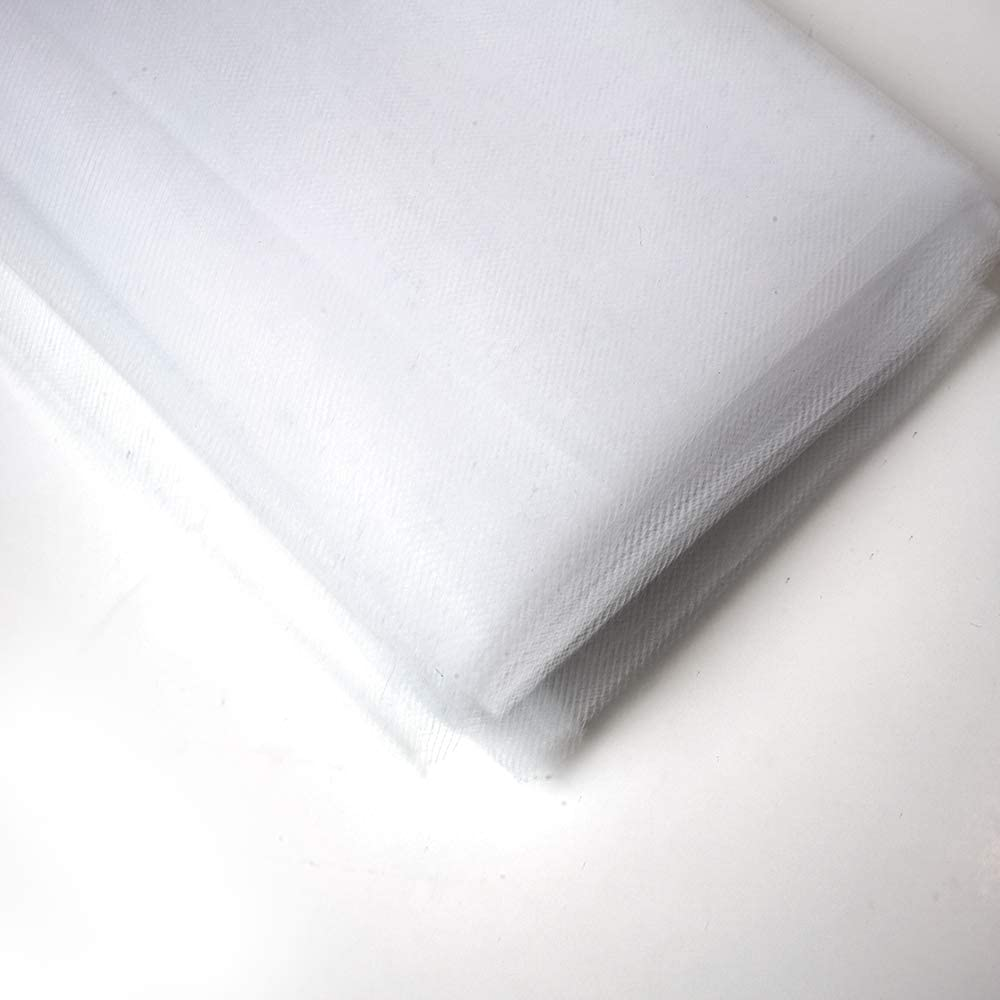 """54"""" by 10 Yards (30 ft) Fabric Tulle Bolt for Wedding and Decoration (White)"""
