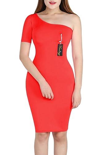 YMING Women's Sexy Bodycon Side Shoulder Solid Color Bodycon Club Dress