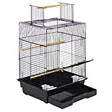 Best Choice Products Pet Supplies 24in Bird Cage w/Open Play Top for Parakeets and Small Birds - Black