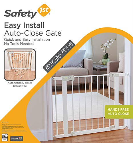 51WpzO8iOEL Safety 1st Easy Install Auto-Close Baby Gate with Pressure Mount Fastening, White    Create child-friendly spaces in your home or on-the-go with the Safety 1st Easy Install Auto-Close Baby Gate with Pressure Mount Fastening. This sturdy baby gate can be opened with one hand and adjusted to fit doorways and openings ranging from 29 to 38 inches wide. Pressure-mounted installation requires no tools, drilling, or hardware and allows for setting up this baby gate quickly and easily in doors or pass-through areas. A magnetic latch causes the baby gate to close and lock automatically, and the SecureTech indicator tells you at a glance that the gate is secure. Easily create a safe space for children in your home or when visiting family and friends by using this 28-inch-high adjustable baby gate in doorways, hallways, staircases, and more. Includes one pressure-mounted baby gate. JPMA-certified baby gate meets ASTM standards for safety and includes a one-year limited warranty. Safety 1st believes parenting should have fewer worries and more joyful moments. As the first and only leader in child safety, Safety 1st is here to give you peace of mind so you can spend less time worrying and more time enjoying every first you experience with your child. To clean, wipe with a damp cloth and dry.