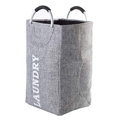 ANOTHERROOM Collapsible Storage Basket Laundry Basket Bag with Alloy Handle Hamper Waterproof Oxford Toy Cloth Organizer Large Capacity Laundry Bag ()