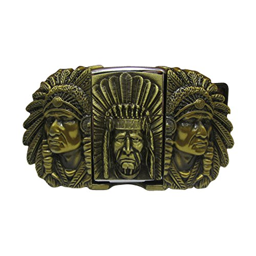 [E-Clover Designer Cowboy Lighter Style Buckle Three Indian Chief Head Western Belt Buckle (Bronze)] (Handmade Buckle)