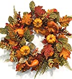 Pilgrims Harvest 22 Inch Fall Decorative Thanksgiving Wreath Front Door Indoor Seasonal Autumn Home Decor