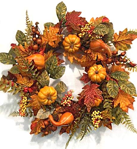 - Pilgrims Harvest 22 Inch Fall Wreath for Front Door Faux Pumpkins Gourds Berries Maple Leaves Thanksgiving Decoration Indoor Seasonal Autumn Home Decor