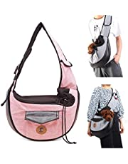 MQ Small Dog Cat Sling Carriers Hands Free Pet Puppy Reversible Pet Papoose Bag for Puppy, Small Dogs, and Cats for Outdoor Travel