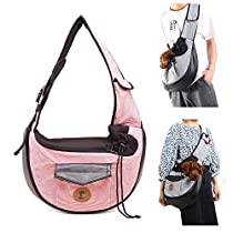 MQ Small Dog Cat Sling Carriers Hands Free Pet Puppy Reversible Pet Papoose Bag for Puppy, Small Dogs, and Cats for Outdoor Travel (Pink)