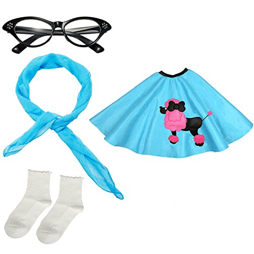 Girls 1950s Costume Accessory Set - Poodle Skirt, Chiffon Scarf, Cat Eye Glasses,Bobby Socks (Blue)