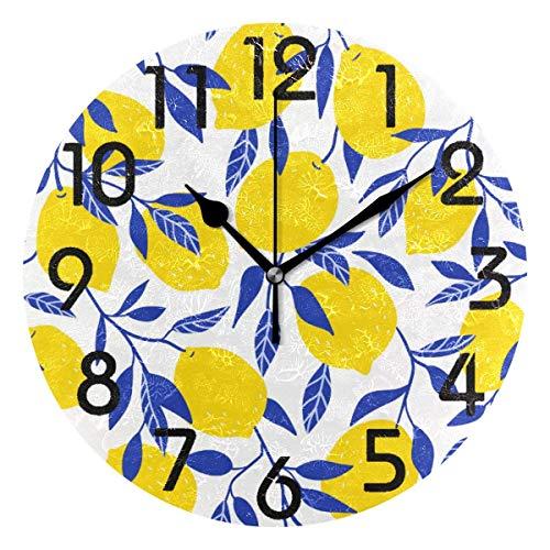 Tropical Yellow Lemons Round Wall Clock, Yellow wall decor