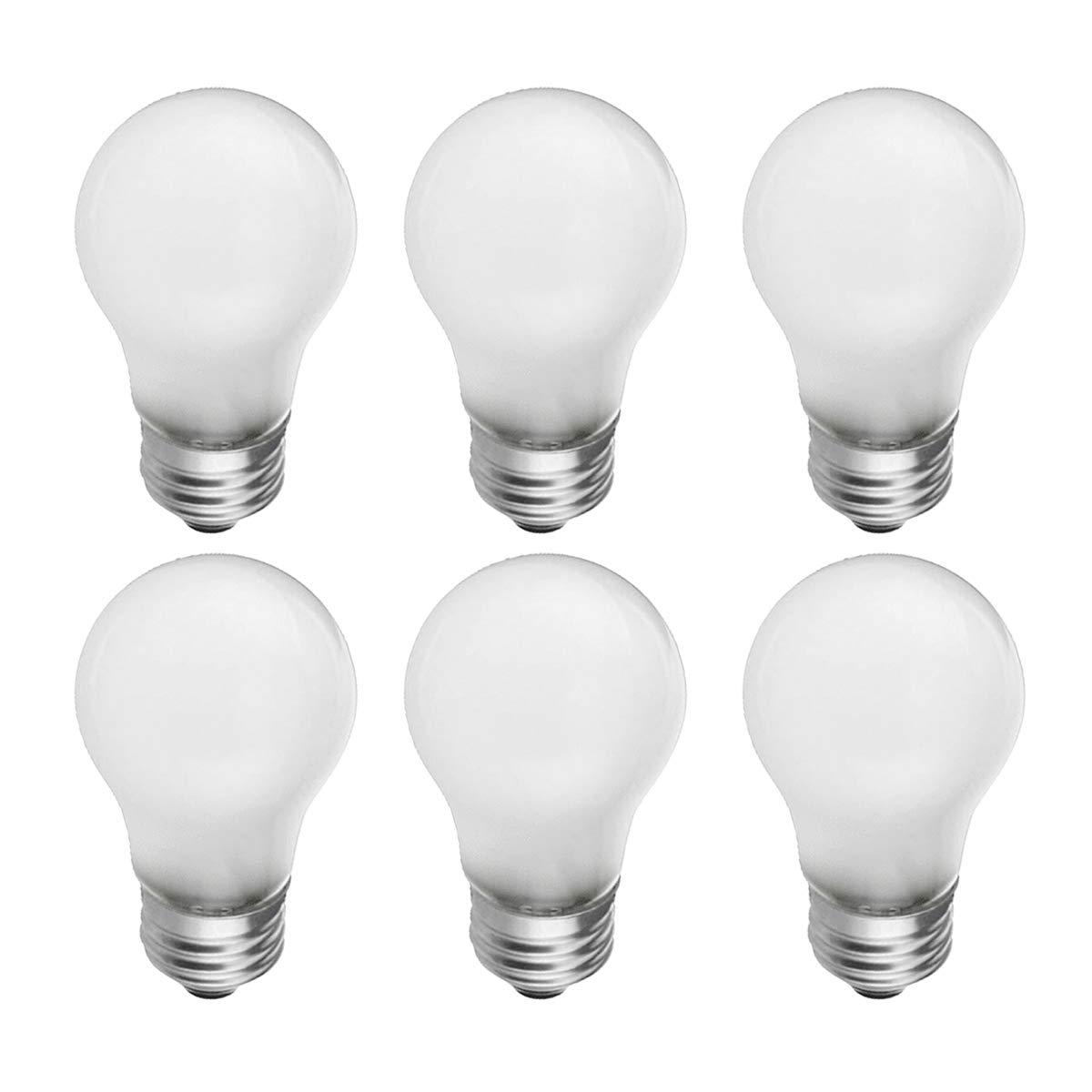 Frosted A15 Incandescent Appliance Light Bulb, 40 Watt, 2700K Soft White, E26 Medium Base, 320 Lumens, 130V (6 Pack)