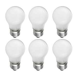 Frosted A15 Incandescent Appliance Light Bulb, 40 Watt, 2700K Soft White, E26 Medium Base, 320 Lumens, 130V (6 Pack)