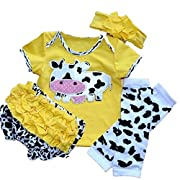 Milk Cow Short Sleeved T-shirt PP Pants Headband Legging For Baby Girls (Yellow, L:6-12month)