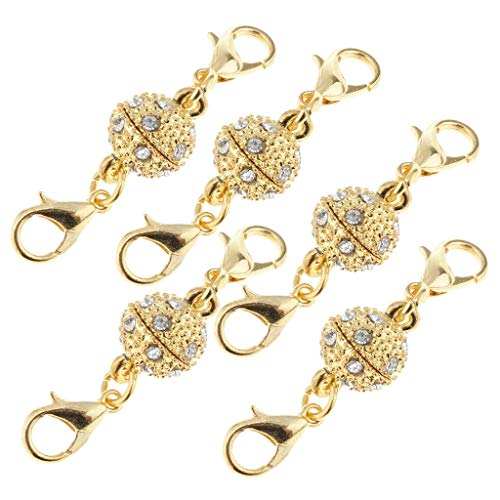 5pcs/Lot Crystal Round Ball Double Lobster Clasp Hook Magnetic Clasp Findings (Item - Gold 12mm)