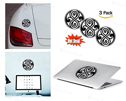 PACK of 3 Doctor Who Seal of Rassilon Sticker Decal for Macbook, Laptop ,Car Window, Laptop, Motorcycle, Walls, Mirror and More. MTS024