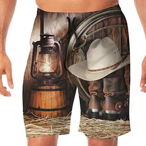 69e94df4e96a2 American West Rodeo Cowboy Men's Beach Board Shorts Swim Trunks Casual Gym  Home Pants with Pocket