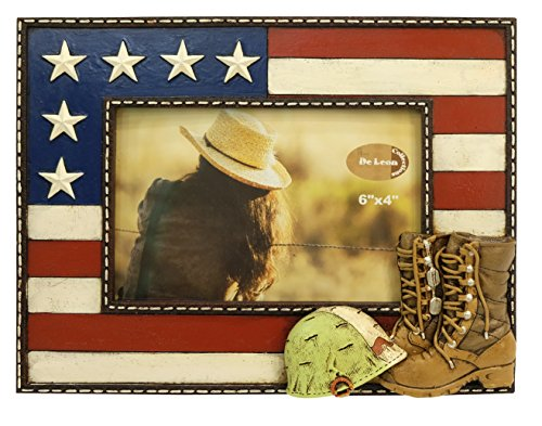 LL Home US Military Boots 4X6 Photo Frame Home Decro ()