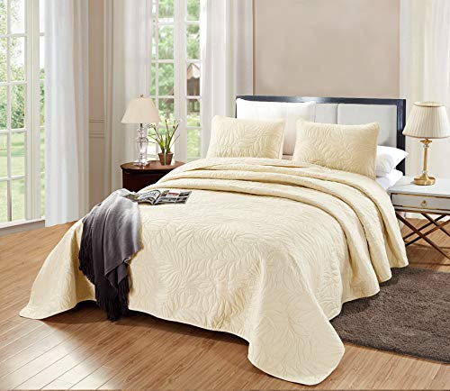 GrandLinen 3-Piece Bedding Savannah Quilt Set Solid Light Ivory Oversize Queen Size 106
