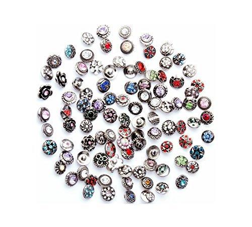 Petite Jewelry (Ginooars 50PCs Rhinestone Snaps Press Buttons 12mm for Petite Size Snap Jewelry Making)