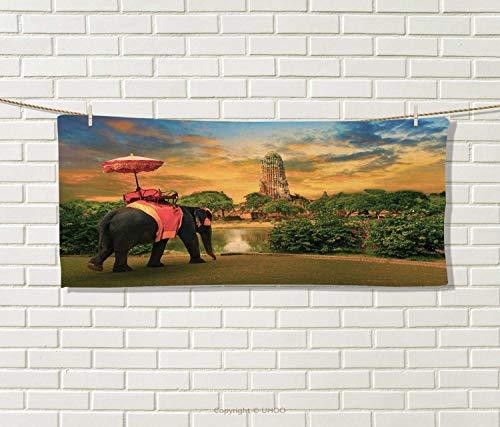 Anniutwo Elephant,Sports Ttowel,Elephant Dressing Thai Kingdom Tradition Accessories Pagoda in Ayuthaya,Absorbent Towel,Green Marigold Size: W 12'' x L 35.5'' by Anniutwo
