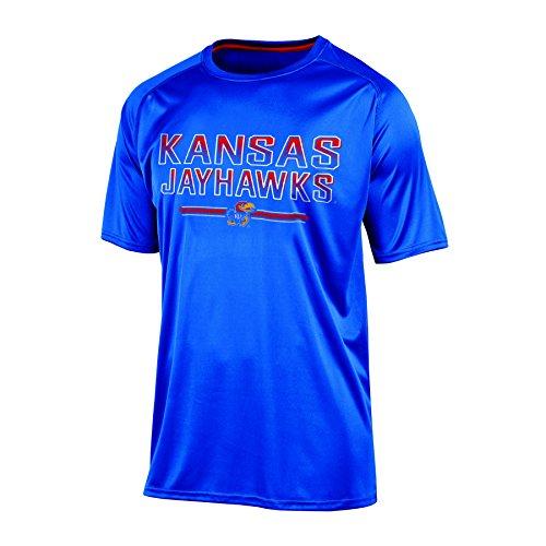 Champion (CHAFK) NCAA Kansas Jayhawks Men's Short Sleeve Crew Neck RA Tee, X-Large, Blue